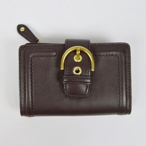 Coach Mahogany Campbell Leather Buckle Wallet